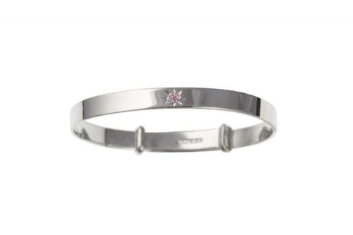 Solid Silver Baby Bangle 18 months - 3 years Pink Stone Adjustable 925 Hallmark